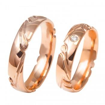 Auksinis vestuvinis žiedas be ir su briliantu