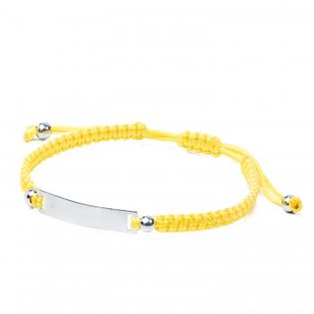 Sidabrinė apyrankė su geltona virvute