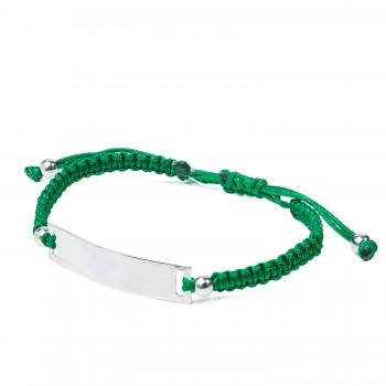 Sidabrinė apyrankė su žalia virvute