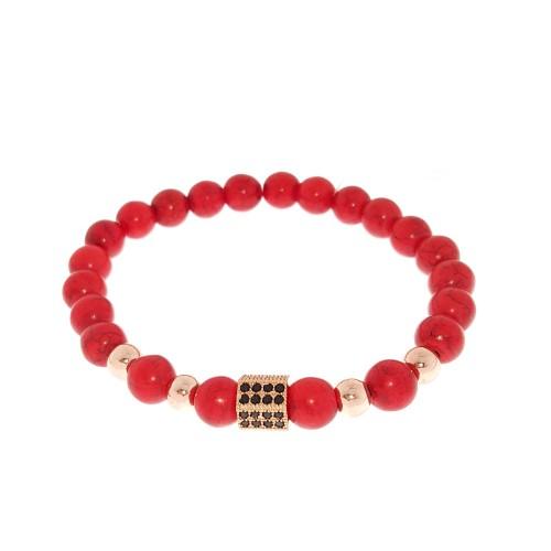Apyrankė su raudonuoju turkiu ir kristalais