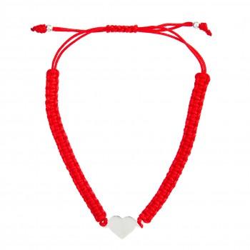 Sidabrinė apyrankė su raudona virvute