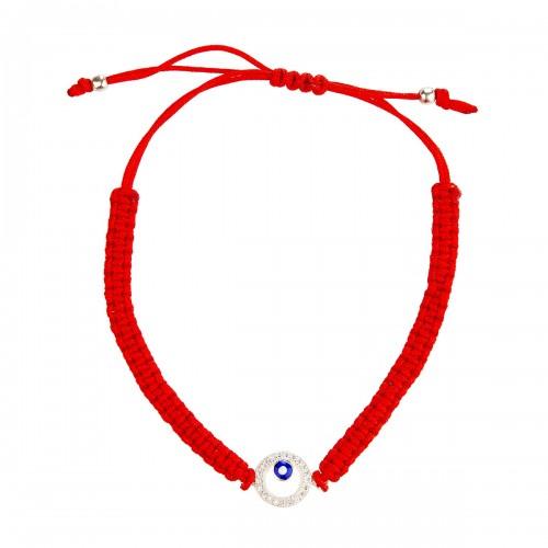 Sidabrinė apyrankė su cirkoniu ir raudona virvute