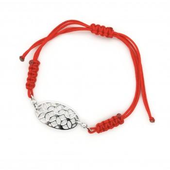 Raudono siūlo apyrankė su sidabriniu pakabuku