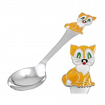"""Vaikiškas sidabrinis šaukštelis arbatai """"Kačiukas"""""""