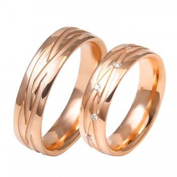Auksinis vestuvinis žiedas be ir su briliantais