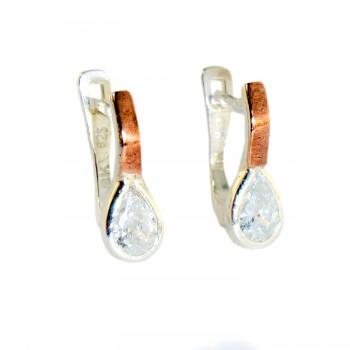 Sidabriniai auskarai su kristalais