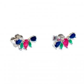 Sidabriniai auskarai su kristalais ir safyro, smaragdo imitacija