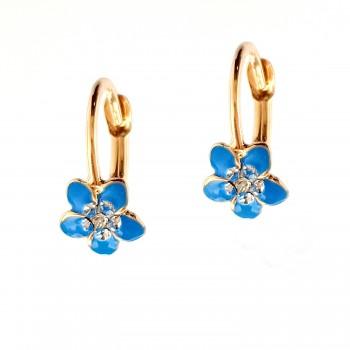 Auksiniai auskarai su kristalais ir emaliu