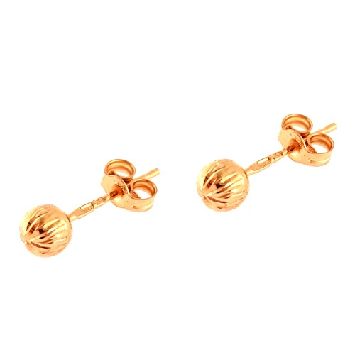 Auksiniai auskarai graviruoti burbuliukai