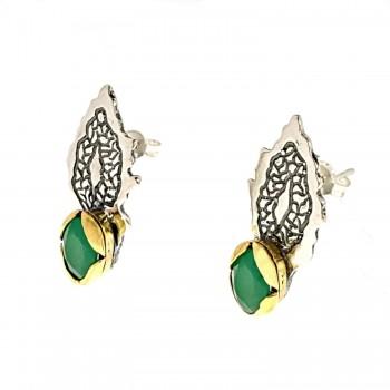 Sidabriniai auskarai su smaragdu