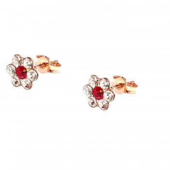 """Auksiniai auskarai su kristalais """"Gėlytės"""""""