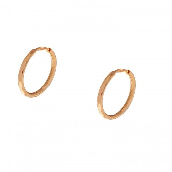 Auksiniai auskarai graviruoti lankeliai