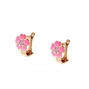 """Auksiniai auskarai su cirkoniu """"Gėlytės"""""""