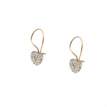 """Auksiniai auskarai su kristalais """"Širdutės"""""""