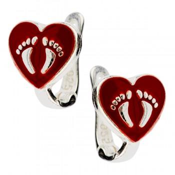 """Sidabriniai auskarai """"Širdelės su pėdutėmis"""""""