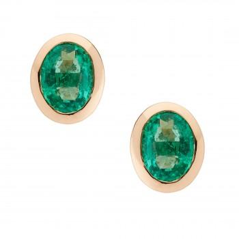 Auksiniai auskarai su smaragdais