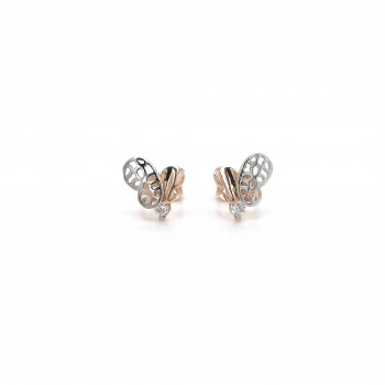 Auksiniai auskarai drugeliai su cirkoniu