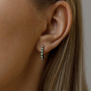 Auksiniai auskarai su deimantais ir smaragdais