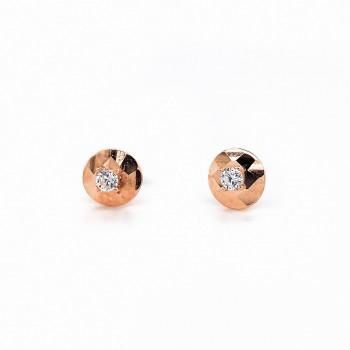 Auksiniai auskarai su cirkoniu 6 mm