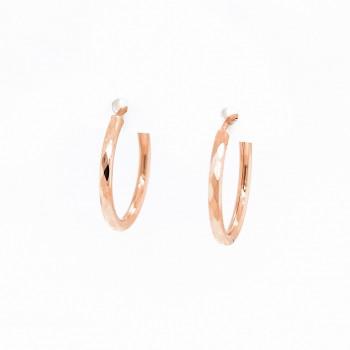 Auksiniai auskarai graviruoti  lankeliai 19 mm