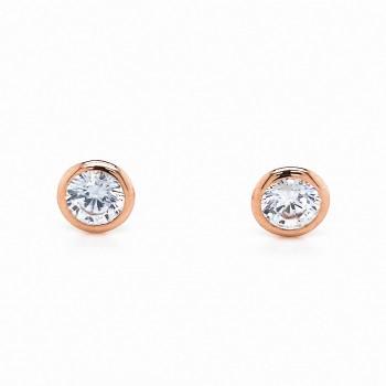 Auksiniai auskarai su cirkoniu 5 mm