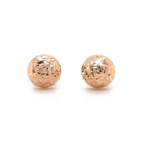 Auksiniai graviruoti auskarai puse burbulo 4 mm