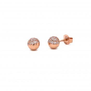 Auksiniai auskarai burbuliukai su cirkoniu