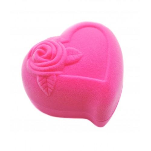 """Rožinė aksominė dėžutė """"Širdelė"""""""