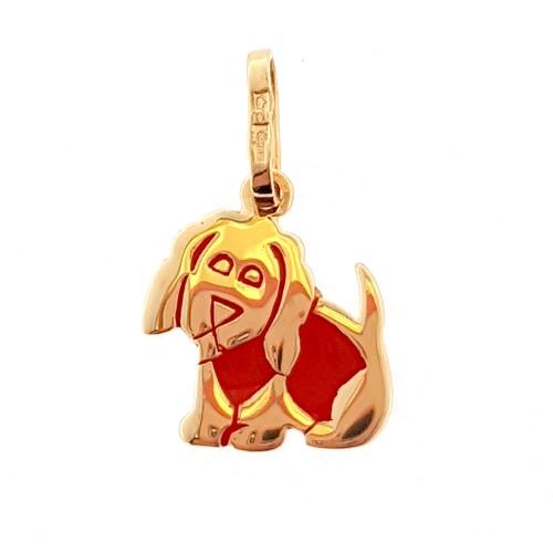 """Auksinis pakabukas """"Šuniukas"""" su emaliu"""