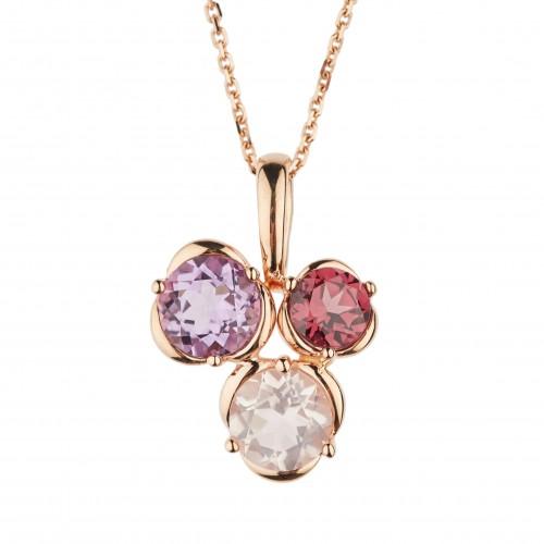 Auksinis pakabukas su ametistu,rozolitu,kvarcu