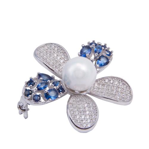 Sidabrinė sagė su cirkoniu ir perlo imitacija
