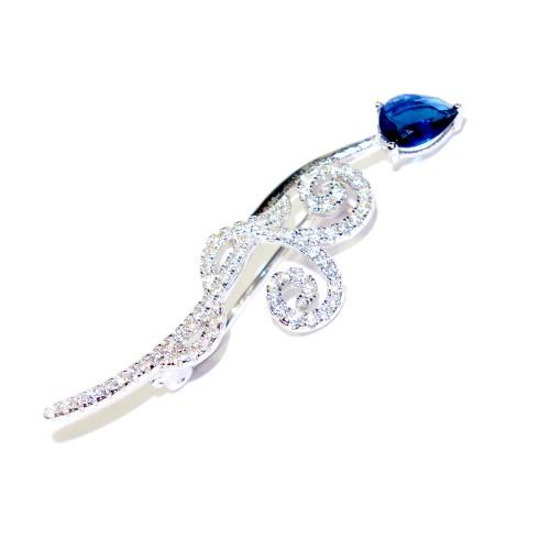 """Sidabrinė sagė """"Gėlės žiedas"""" su cirkoniu ir kristalu"""