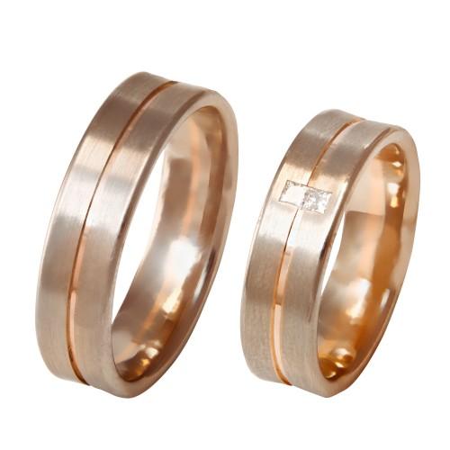 Auksinis vestuvinis žiedas be ir su deimantais