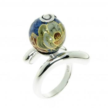 Sidabrinis žiedas su emaliu