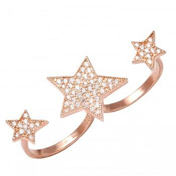 """Sidabrinis žiedas su cirkoniu """"Žvaigždės"""""""