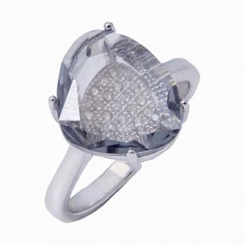 Sidabrinis žiedas su cirkoniu ir kristalu