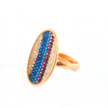 Spalvingas sidabrinis žiedas su cirkoniu ir kristalais