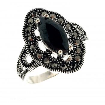 Sidabrinis žiedas su markazitais ir cirkoniu