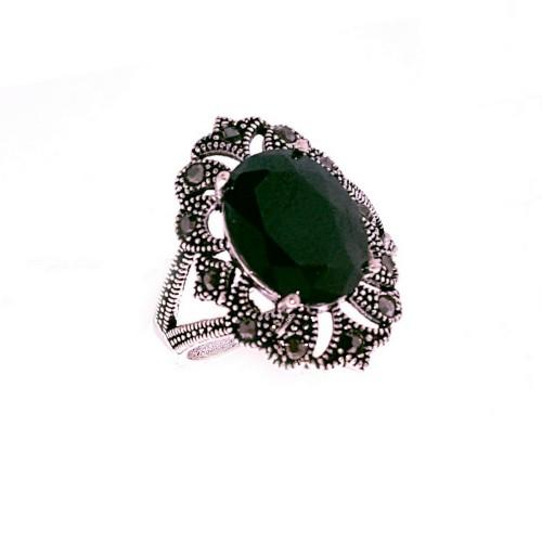Sidabrinis žiedas su cirkoniu ir markazitais
