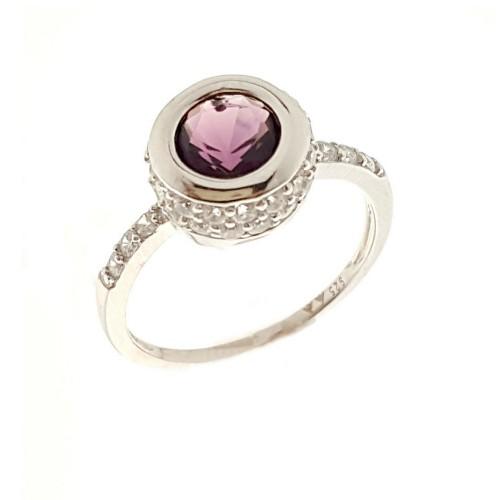 Sidabrinis žiedas su cirkoniu ir kristalais