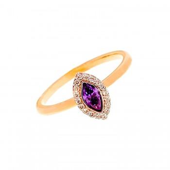 Auksinis žiedas su cirkoniu ir ametistu