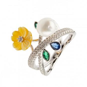Žiedas su kultivuotu perlu, kriaukle ir cirkoniu