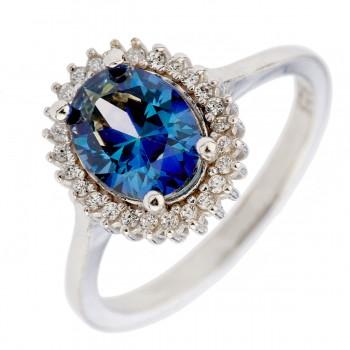 Sidabrinis žiedas su tanzanito imitacija ir cirkoniu