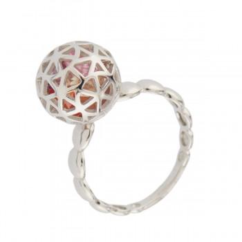 Sidabrinis žiedas su kristalais