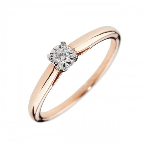 Auksinis žiedas su briliantu