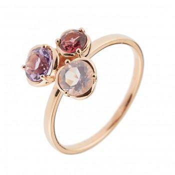 Auksinis žiedas ametistu,rozolitu,kvarcu
