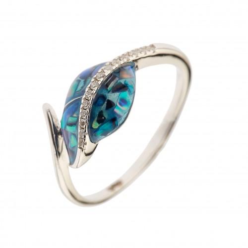 Sidabrinis žiedas su kriaukle ir cirkoniu
