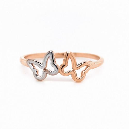 Auksinis žiedas su drugeliais