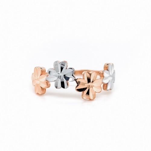 Auksinis žiedas su gėlytėmis