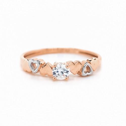 Auksinis žiedas su cirkoniu ir širdelėmis
